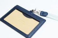 IDカードケース(ストラップ付き) 紺 シマダクラシックレザー